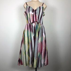 Anthro Odille Multicolor Striped Cotton Sundress